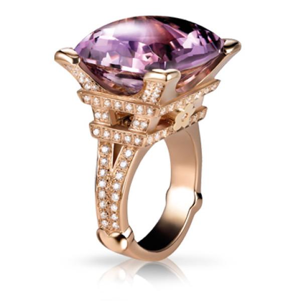 Кольцо Pasquale Bruni Madame Eiffel, розовое золото, бриллианты, аметист