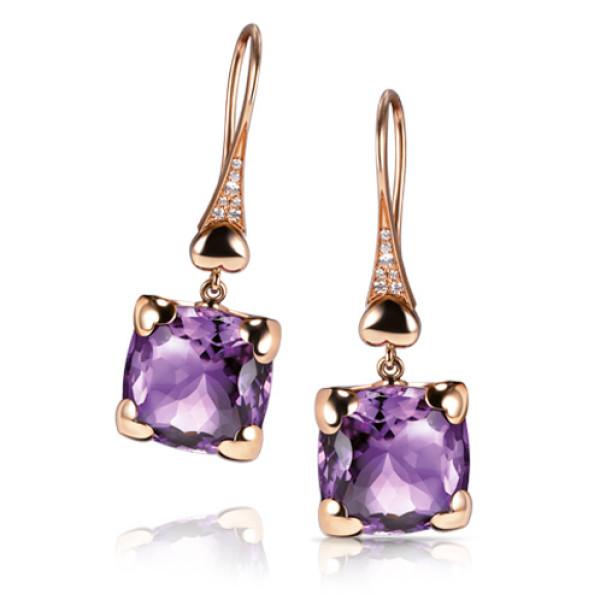 Серьги Pasquale Bruni Madame Eiffel, розовое золото, бриллианты, аметисты