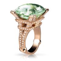 Кольцо Pasquale Bruni Madame Eiffel, розовое золото, бриллианты, зеленый аметист
