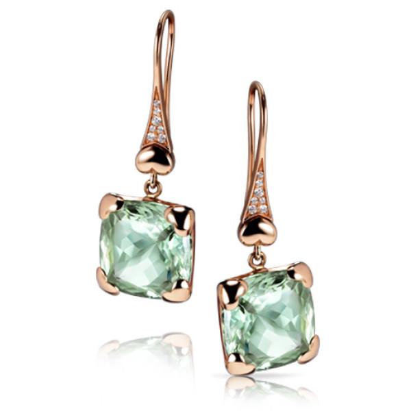 Серьги Pasquale Bruni Madame Eiffel, розовое золото, бриллианты, зеленые аметисты