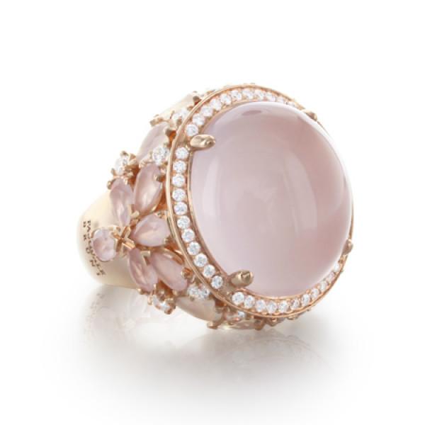 Кольцо Pasquale Bruni Ghirlanda, розовое золото, лунный камень, кварц, бриллианты