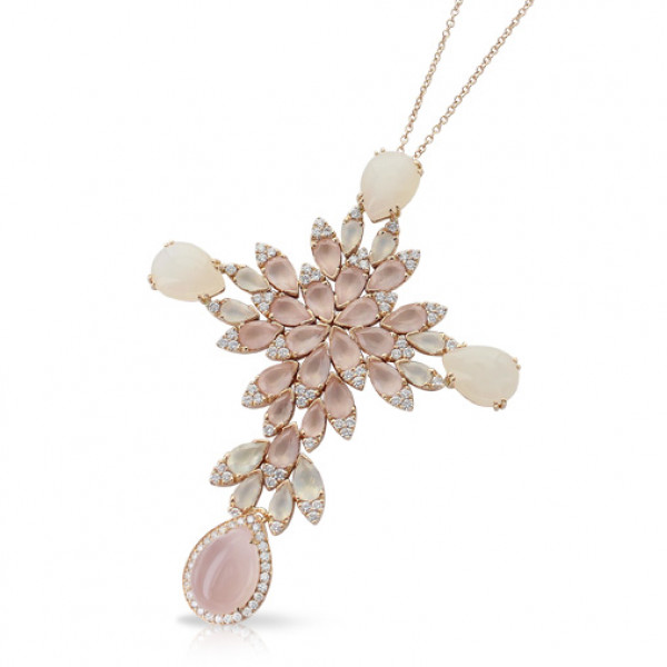Подвеска Pasquale Bruni Ghirlanda, розовое золото, лунный камень, кварц, бриллианты