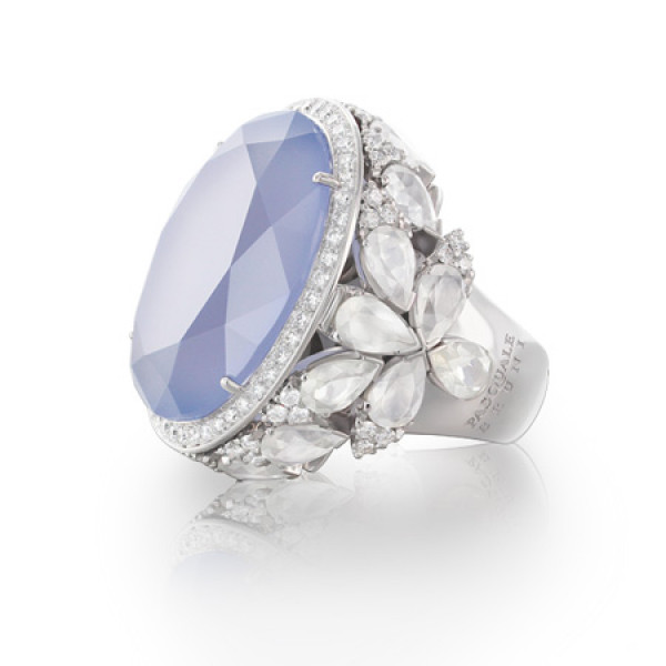 Кольцо Pasquale Bruni Ghirlanda, белое золото, халцедон, агат, бриллианты