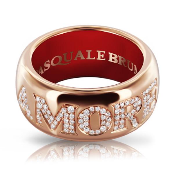 Кольцо Pasquale Bruni Amore, розовое золото, бриллианты, эмаль