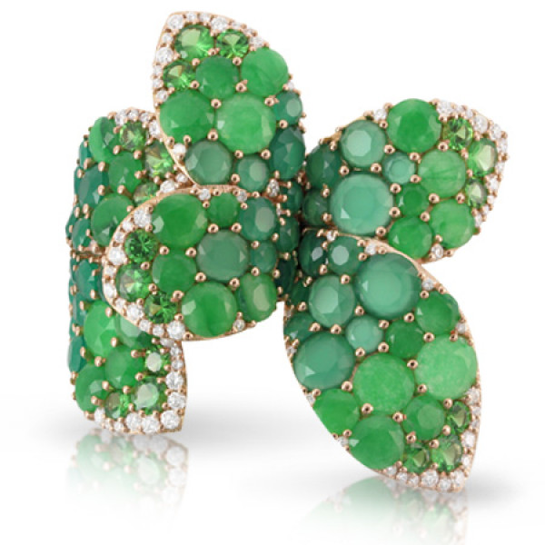 Кольцо Pasquale Bruni Secret Gardens Haute Couture, розовое золото, бриллианты, нефрит, агат, цаворит