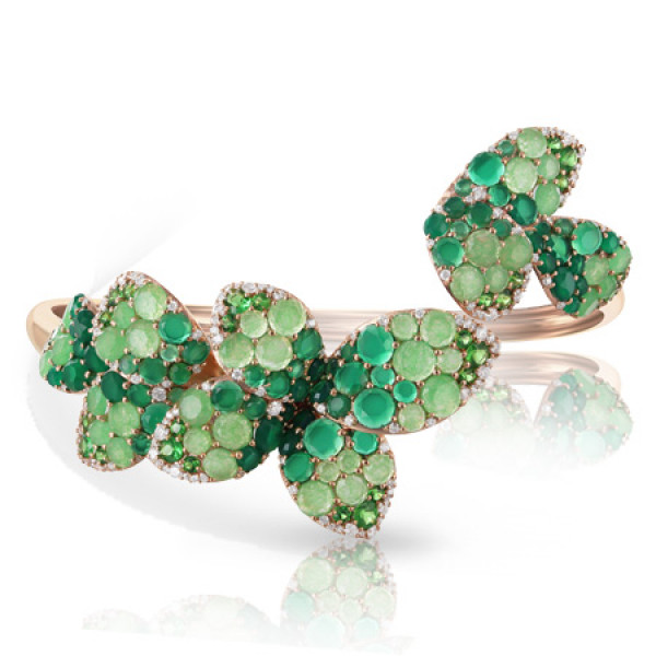 Браслет Pasquale Bruni Secret Gardens Haute Couture, розовое золото, бриллианты, нефрит, агат, цаворит