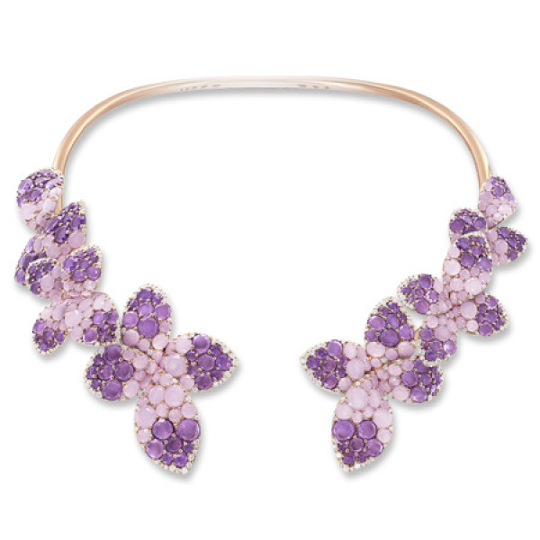 Колье Pasquale Bruni Secret Gardens Haute Couture, розовое золото, бриллианты, нефрит, аметист