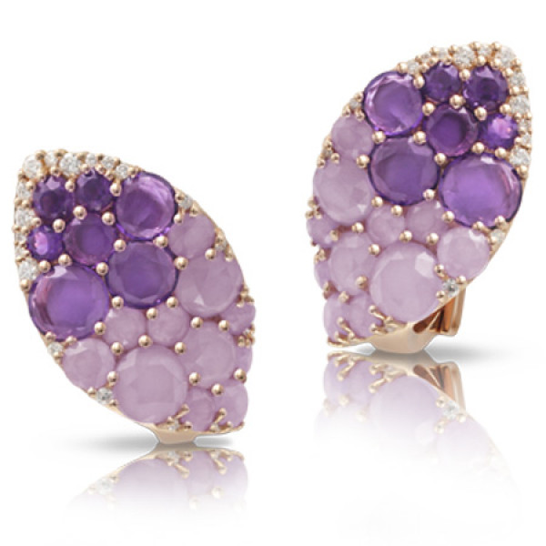 Серьги Pasquale Bruni Secret Gardens Haute Couture, розовое золото, бриллианты, нефрит, аметист