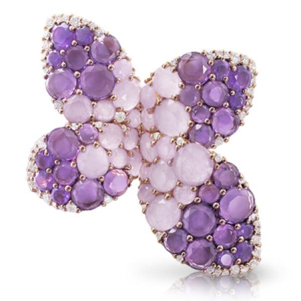 Кольцо Pasquale Bruni Secret Gardens Haute Couture, розовое золото, бриллианты, нефрит, аметист