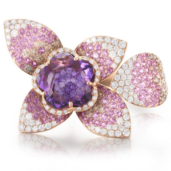 Кольцо Pasquale Bruni Secret Gardens Haute Couture, розовое золото, бриллианты, аметист, сапфиры