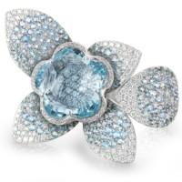 Кольцо Pasquale Bruni Secret Gardens Haute Couture, белое золото, бриллианты, аквамарины