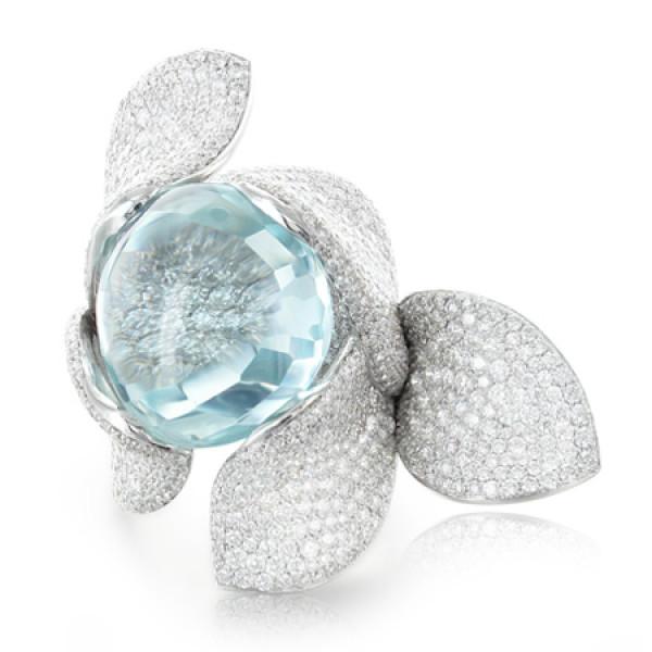 Кольцо Pasquale Bruni Secret Gardens Haute Couture, белое золото, бриллианты, аквамарин
