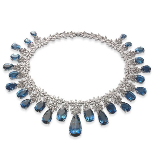 Колье Pasquale Bruni Ghirlanda Haute Couture, белое золото, бриллианты, топазы