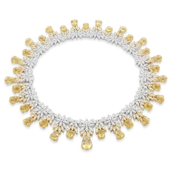 Колье Pasquale Bruni Ghirlanda Haute Couture, белое, желтое золото, бриллианты, гелиодор