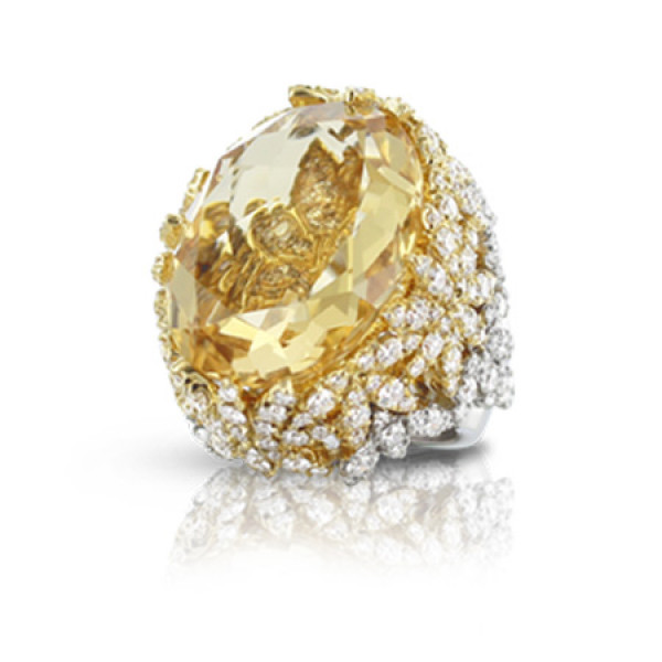 Кольцо Pasquale Bruni Ghirlanda Haute Couture, белое, желтое золото, бриллианты, гелиодор