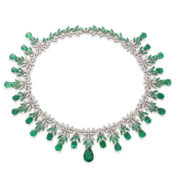Колье Pasquale Bruni Ghirlanda Haute Couture, белое золото, бриллианты, изумруды