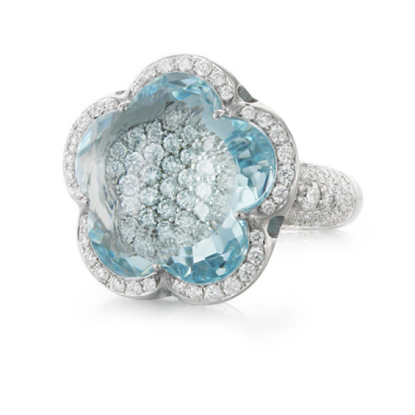 Кольцо Pasquale Bruni Bon Ton Haute Couture, белое золото, бриллианты, аквамарин