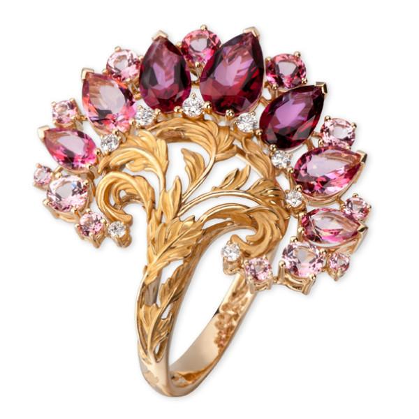 Кольцо Magerit Gea Genus, желтое золото, бриллианты, топазы, агаты