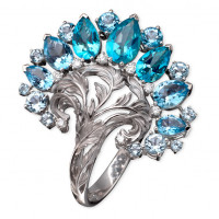 Кольцо Magerit Gea Genus, белое золото, бриллианты, топазы, агаты