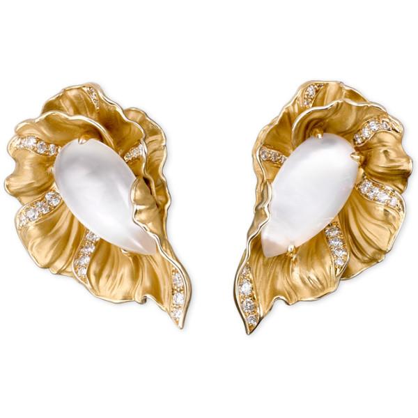 Серьги Magerit Gea Aurea Small, желтое золото, бриллианты, кварц
