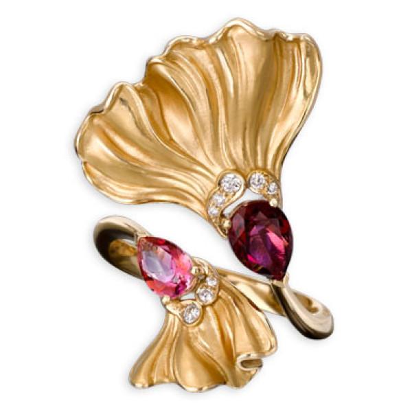 Кольцо Magerit Gea Folia, желтое золото, бриллианты, агат, топаз