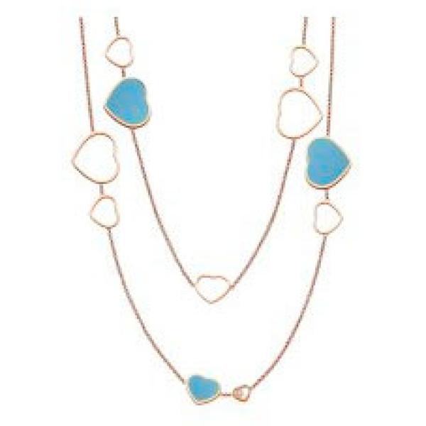 Колье Chopard Happy Hearts Sautoir Rose Gold and Turquoise, розовое золото, бриллиант