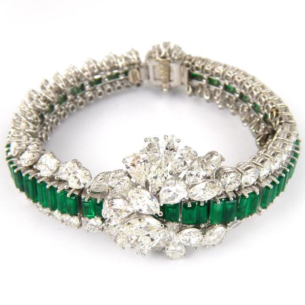 Браслет Gaspari, белое золото, бриллианты, изумруды