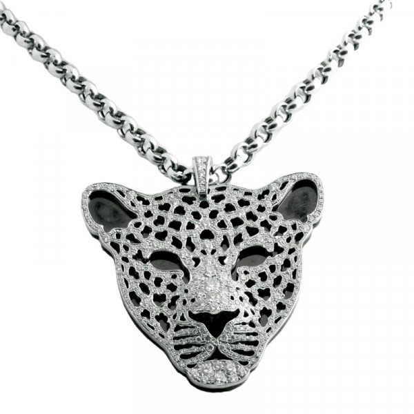 Подвеска Carrera y Carrera Fieras Leopard, белое золото, бриллианты