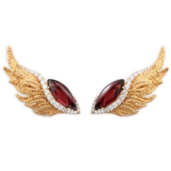 Серьги Magerit Hechizo Armonia, желтое золото, бриллианты, гранат