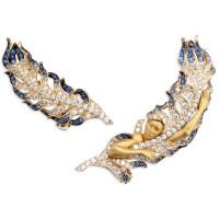 Серьги Magerit Hechizo Odette, желтое золото, бриллианты, сапфиры