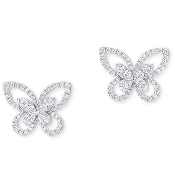 Серьги Graff Butterfly, белое золото, бриллианты
