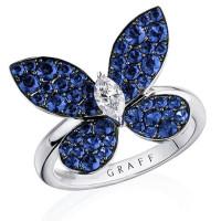 Кольцо Graff Butterfly, белое золото, сапфиры, бриллиант