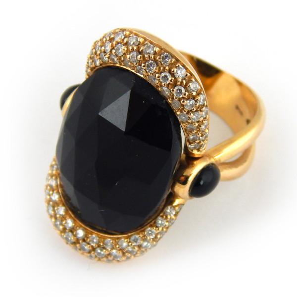 Кольцо Giorgio Visconti, золото 750, бриллианты, оникс