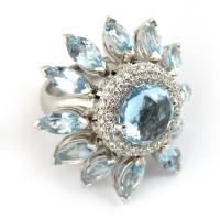 Кольцо Staurino Fratelli, белое золото, бриллианты, топазы
