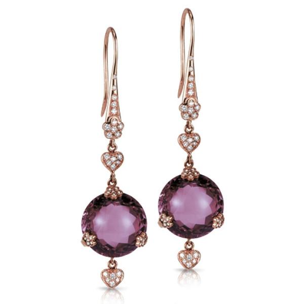 Серьги Pasquale Bruni Sissi, розовое золото, бриллианты, аметисты