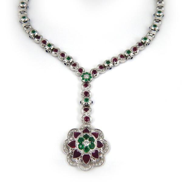 Колье Zancan, белое золото, бриллианты, изумруды, рубины