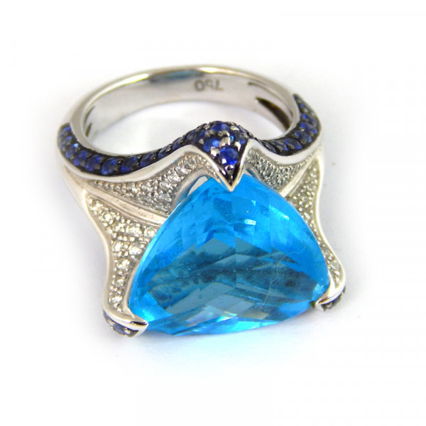 Кольцо Staurino Fratelli, белое золото, бриллианты, сапфиры
