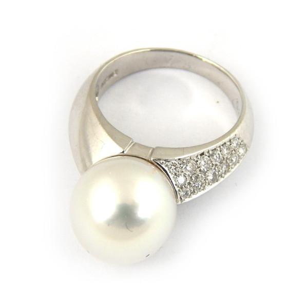 Кольцо Paspaley, белое золото, бриллианты, жемчуг