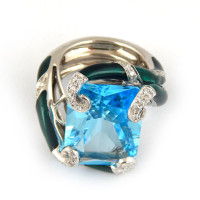 Кольцо Magerit Nature, белое золото, топаз, бриллианты