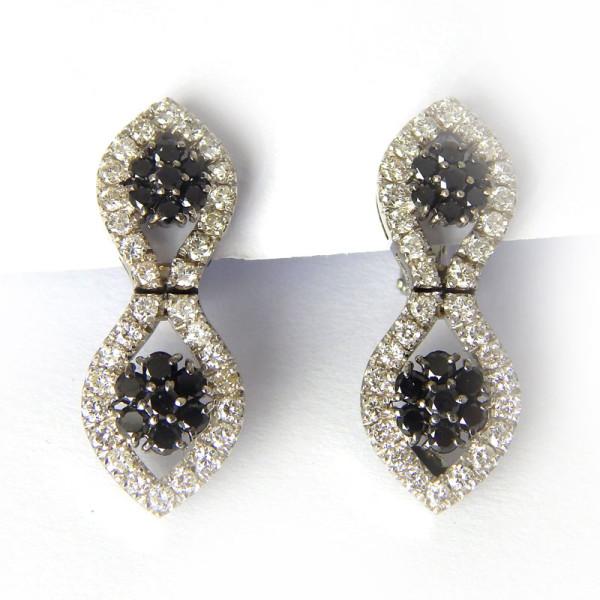 Серьги Staurino Fratelli, белое золото, черные, белые бриллианты