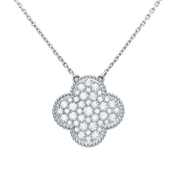 Подвеска Van Cleef & Arpels Magic Alhambra, белое золото, бриллианты