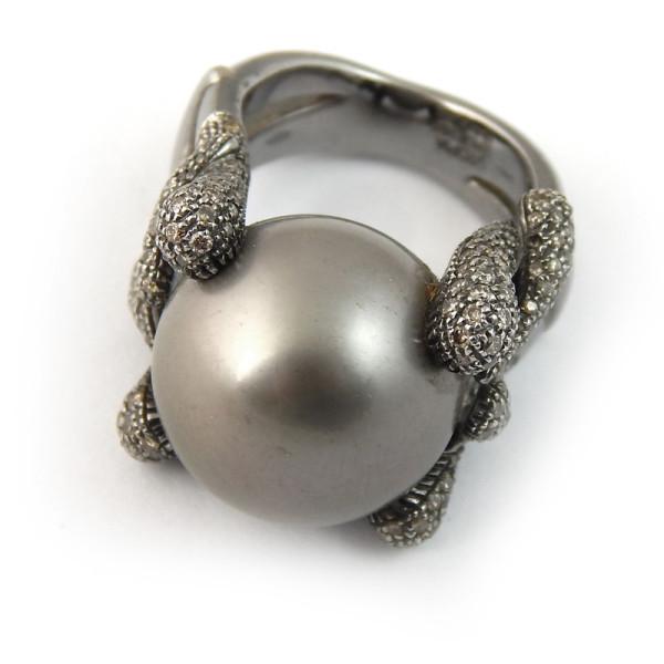 Кольцо Utopia, белое золото 750, жемчуг, бриллианты