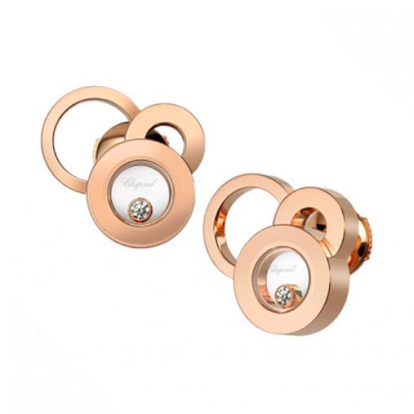 Серьги Chopard Happy Diamonds Bubbles, розовое золото, бриллианты