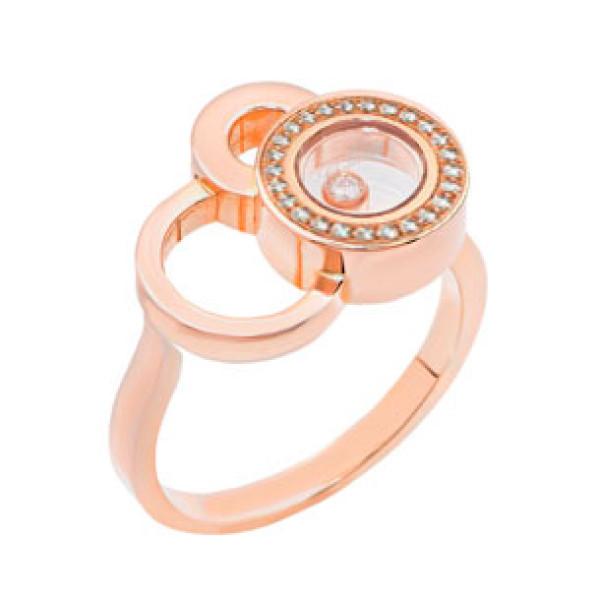 Кольцо Chopard Happy Diamonds Bubbles, розовое золото, бриллианты
