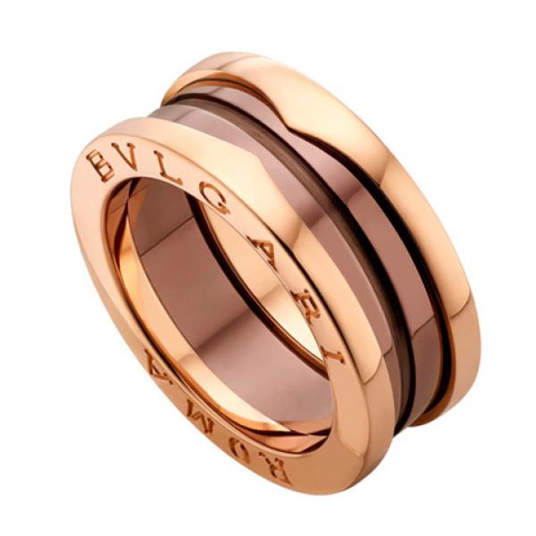 Кольцо Bulgari B.Zero1, розовое золото, керамика