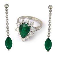 Набор Crivelli серьги и кольцо, белое золото, бриллианты, изумруды