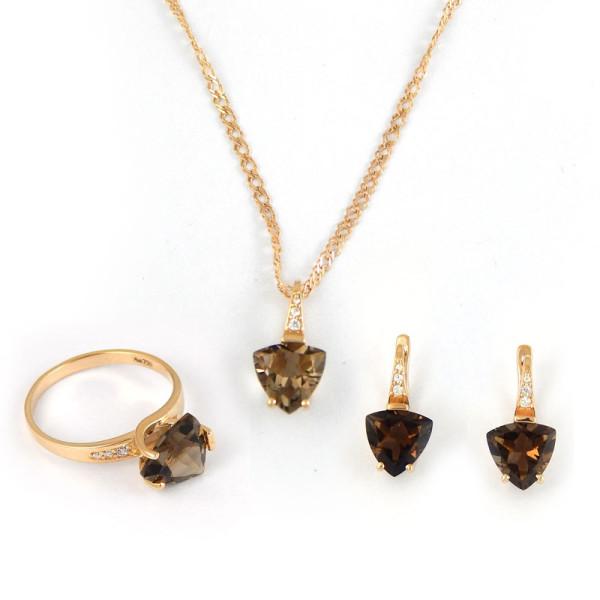 Набор Crivelli, серьги, кулон, кольцо, розовое золото