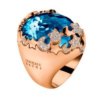 Кольцо Pasquale Bruni, желтое золото, бриллианты, аквамарин