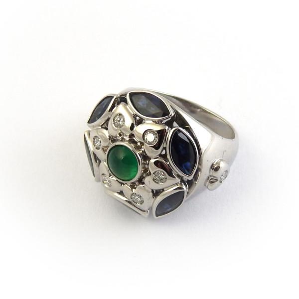 Кольцо Zancan, белое золото, бриллианты, сапфиры, изумруд