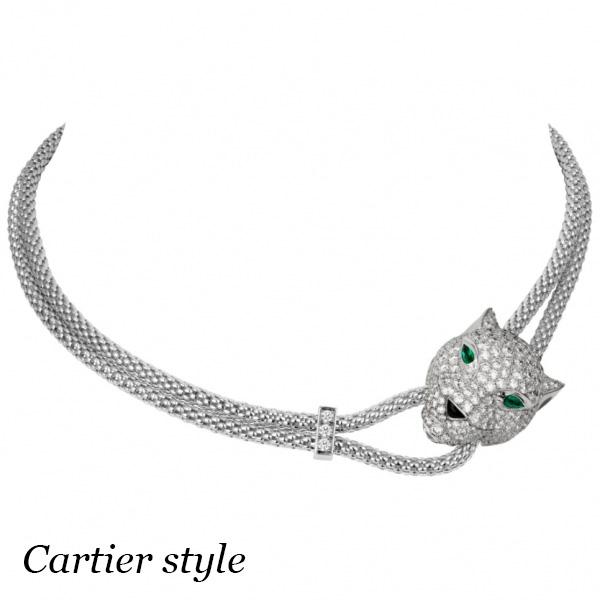 Колье Cartier Panthere, белое золото, бриллианты